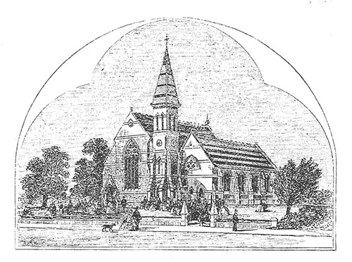 1861 architect's drawing for new Congregational Church